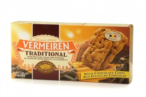 Vermeiren traditional biscuit with chocolate chips 12x130g - Vermeiren speculoos met chocoladestukjes 12x130g